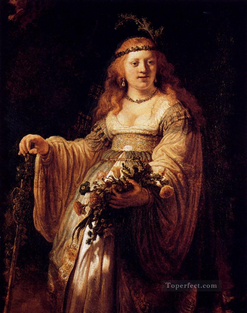 Flora portrait Rembrandt Oil Paintings
