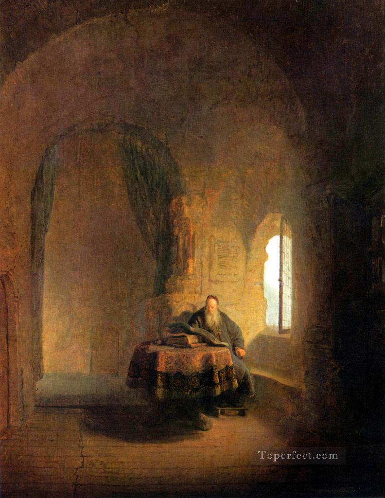 Philosopher Reading Rembrandt Oil Paintings