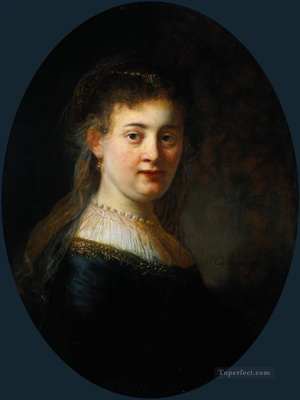 Portrait of Saskia van Uylenburgh Rembrandt Oil Paintings