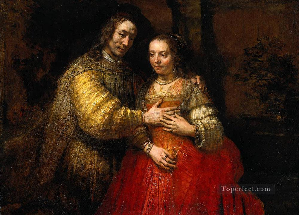 Portrait of Two Figures from the Old Testament known as The Jewish Bride Baroque Rembrandt Oil Paintings