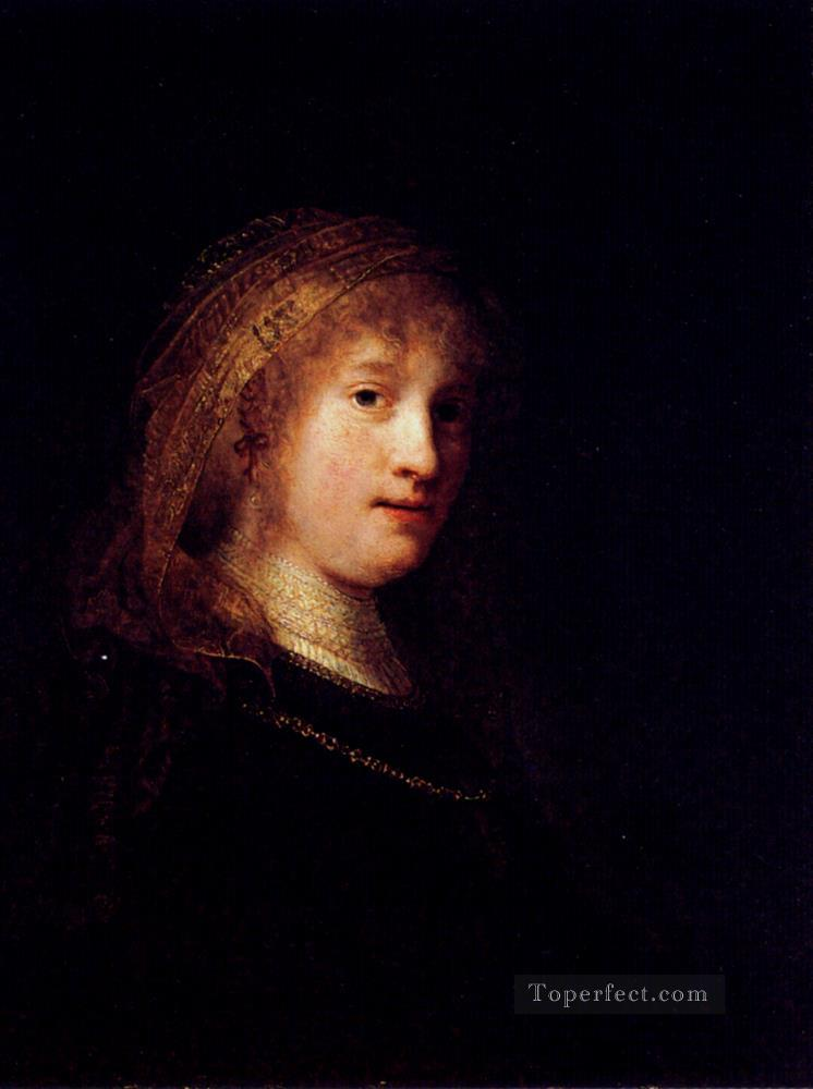 Saskia Wearing A Veil portrait Rembrandt Oil Paintings