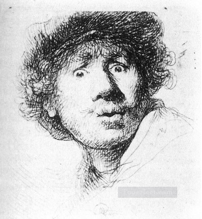 Self Portrait Staring Rembrandt Oil Paintings