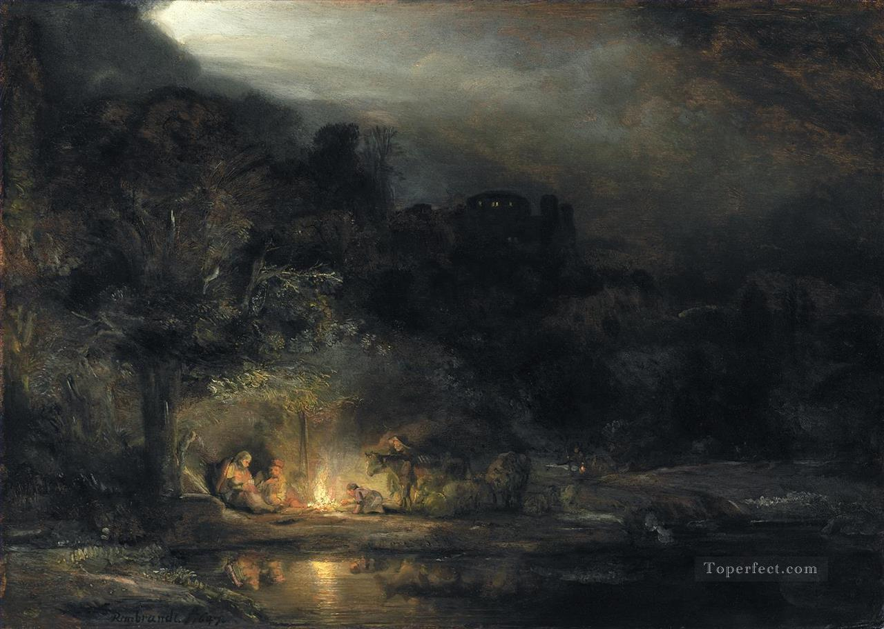 Rest on the Flight to Egypt Rembrandt Oil Paintings