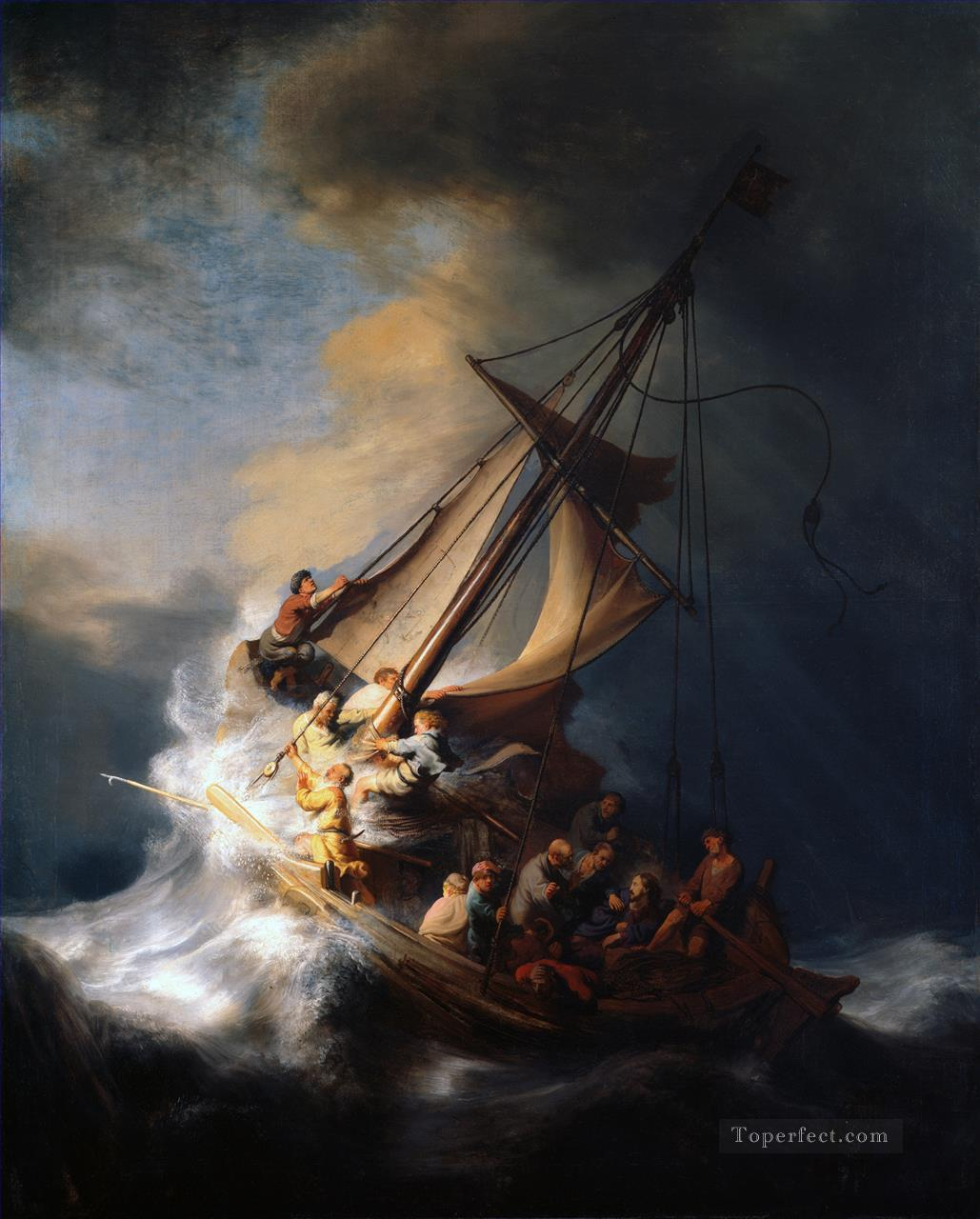 Christ In The Storm On The Sea Of Galilee Rembrandt Oil Paintings