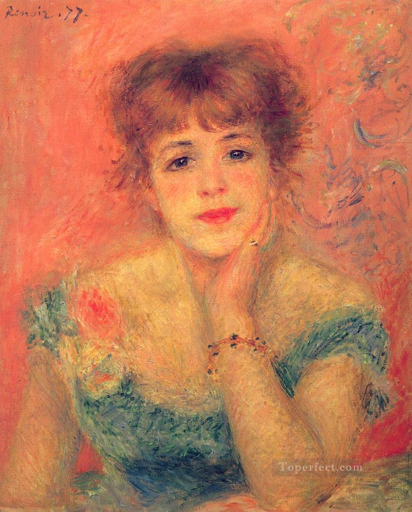 Jeanne Samary in a LowNecked Dress master Pierre Auguste Renoir Oil Paintings