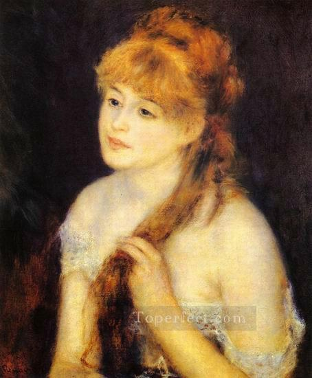 young woman braiding her hair Pierre Auguste Renoir Oil Paintings