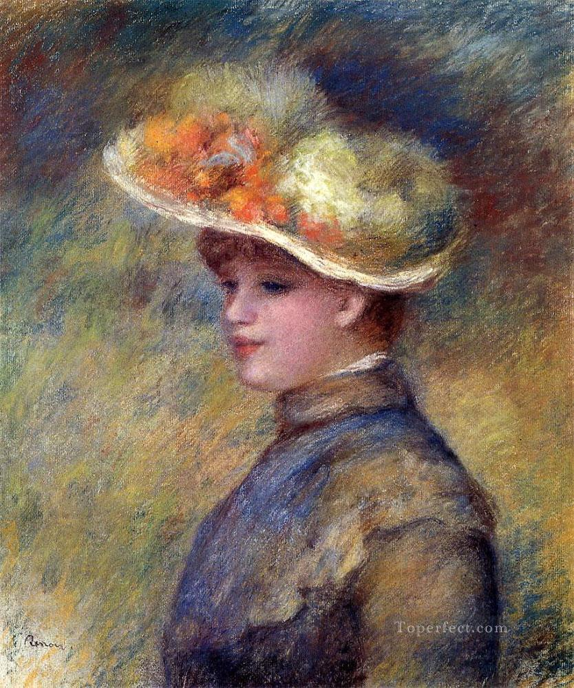 young woman wearing a hat Pierre Auguste Renoir Oil Paintings