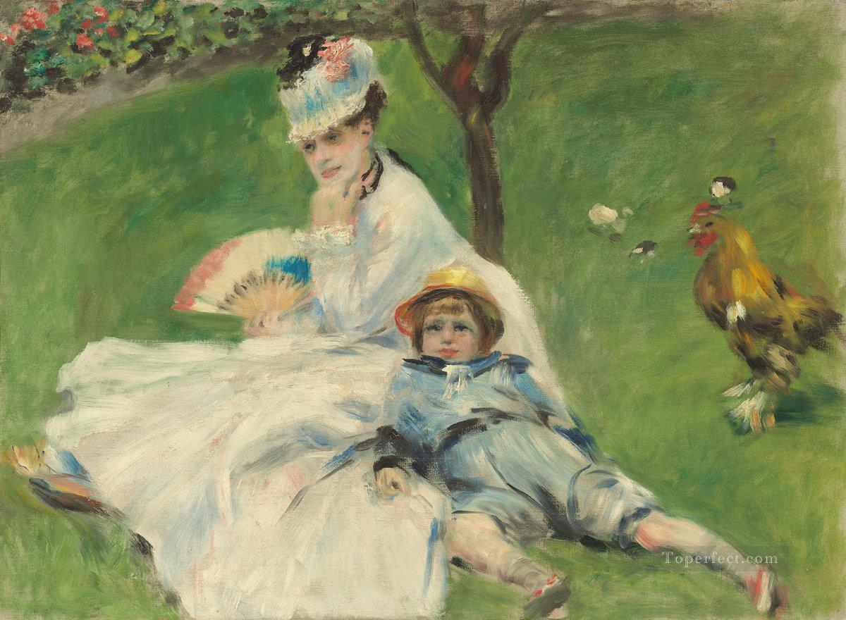 madame monet and her son jean Pierre Auguste Renoir Oil Paintings