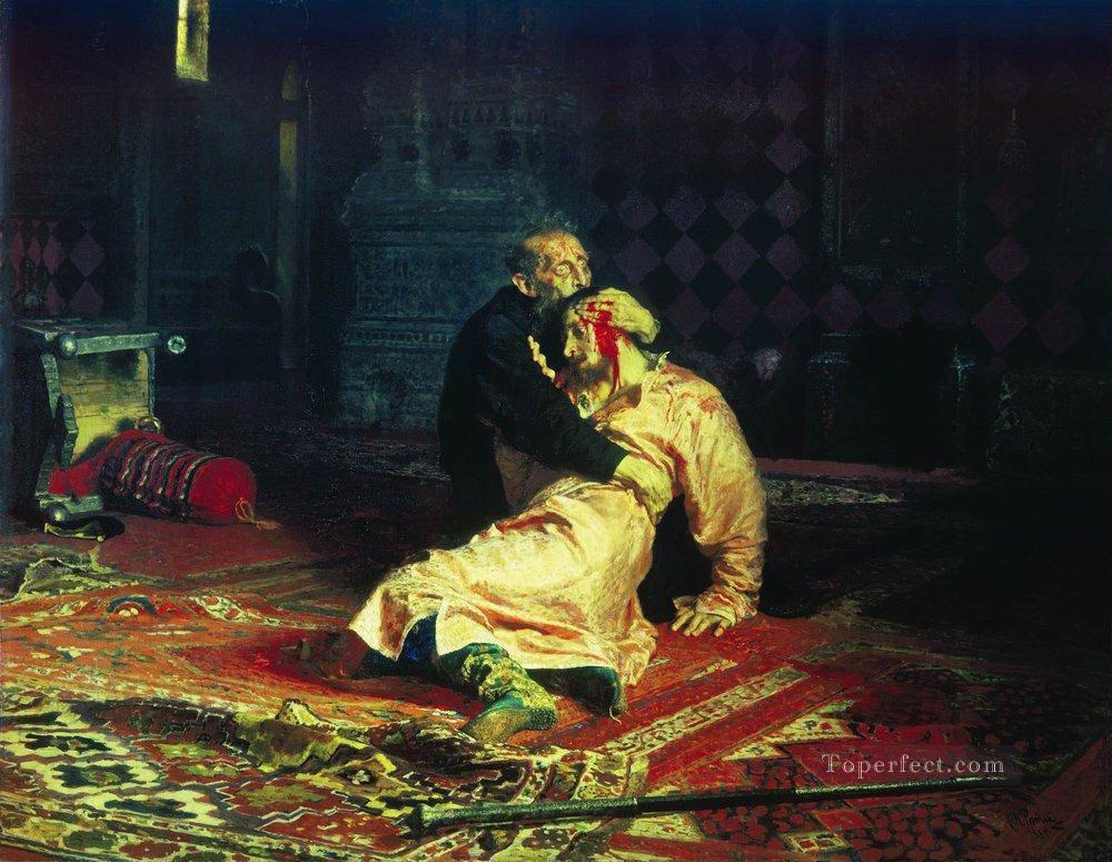 ivan the terrible and his son ivan on november 16 1581 1885 Ilya Repin Oil Paintings