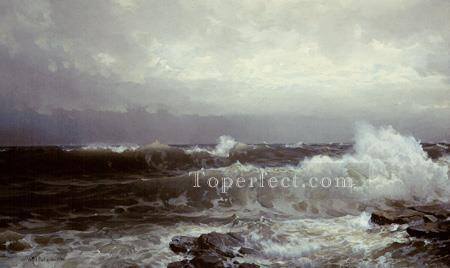 Breakers at Beaver scenery William Trost Richards Oil Paintings