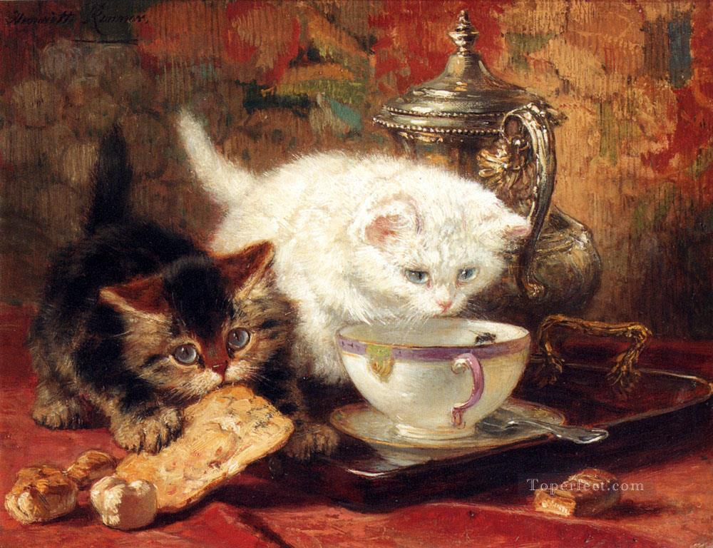 High Tea animal cat Henriette Ronner Knip Oil Paintings