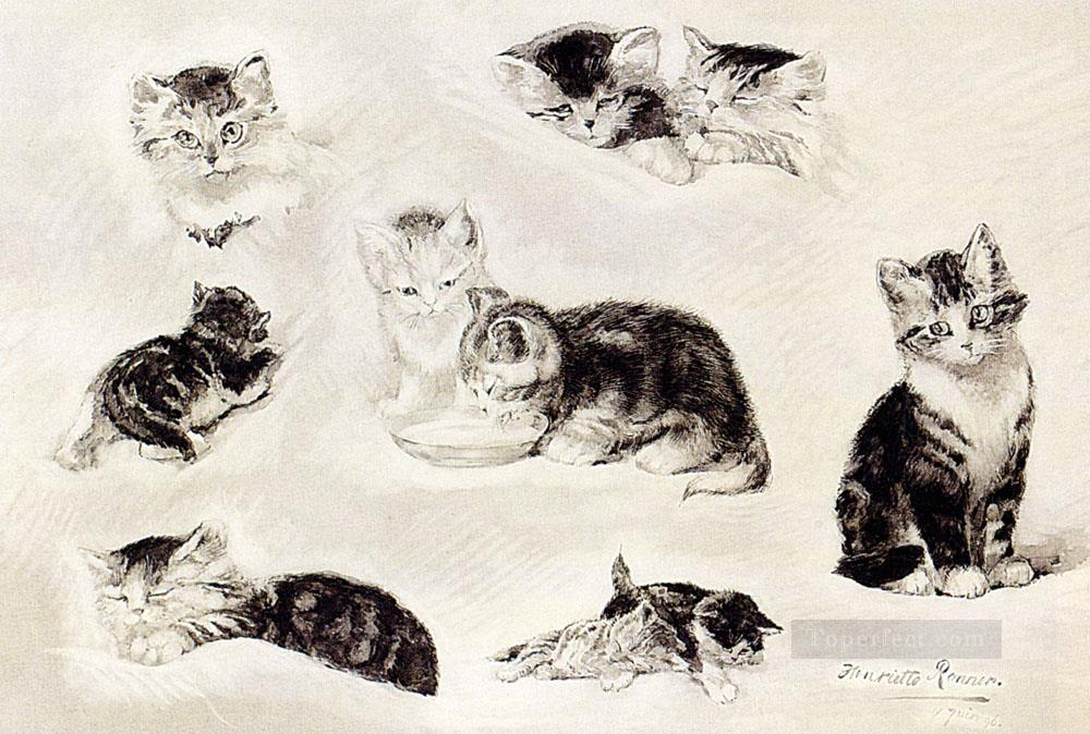 A Study Of Cats Drinking Sleeping And Playing Henriette Ronner Knip Oil Paintings