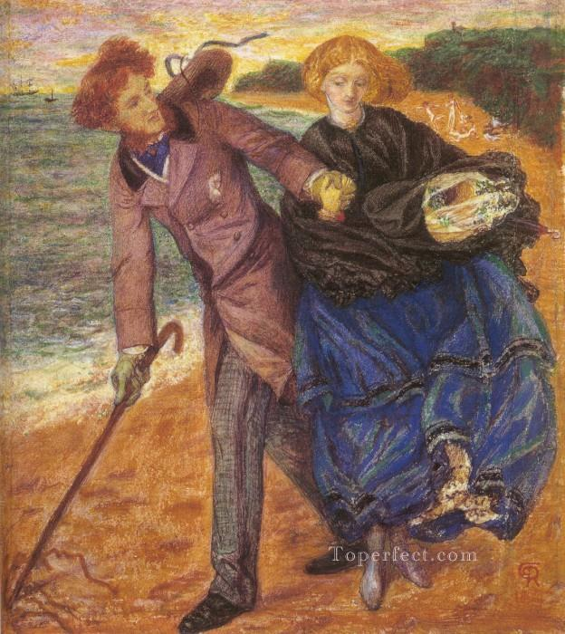 Writing on the Sand Pre Raphaelite Brotherhood Dante Gabriel Rossetti Oil Paintings