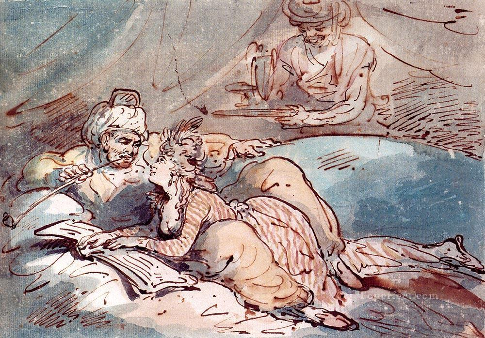 Love In The East caricature Thomas Rowlandson Oil Paintings