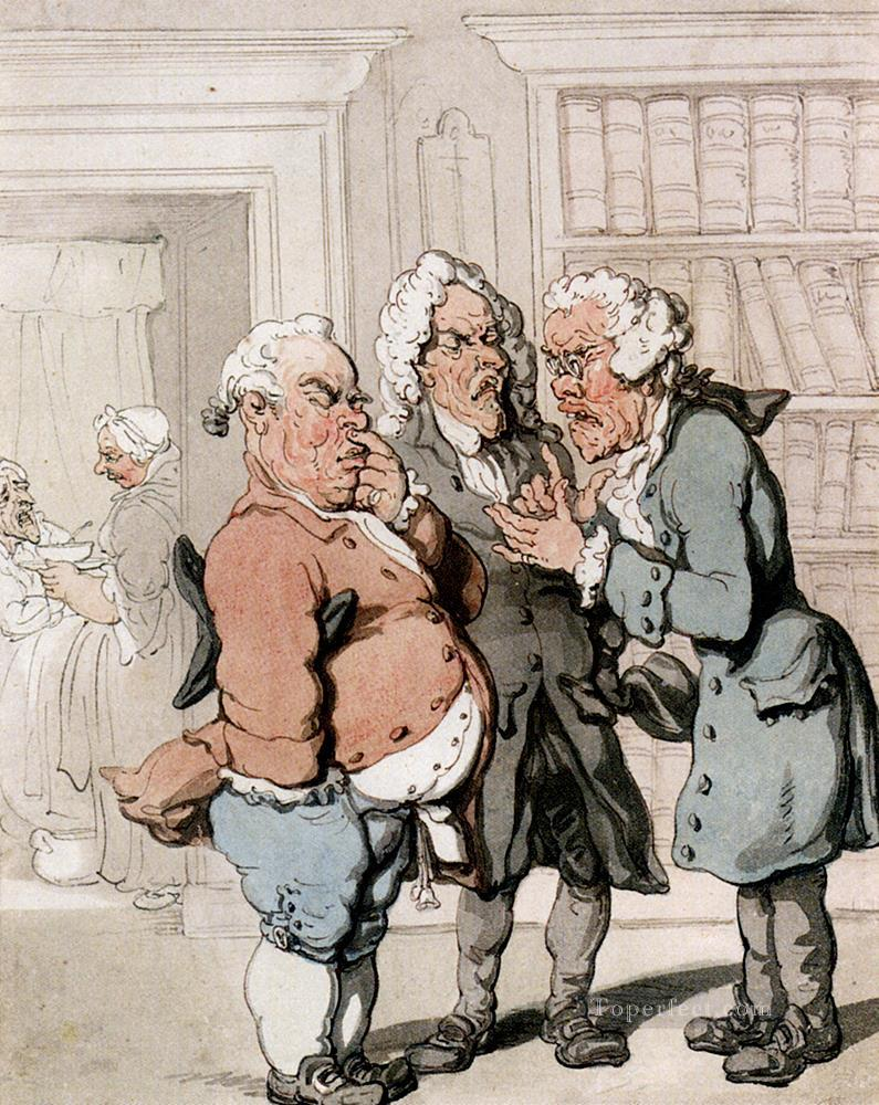 The Doctors Consultation caricature Thomas Rowlandson Oil Paintings