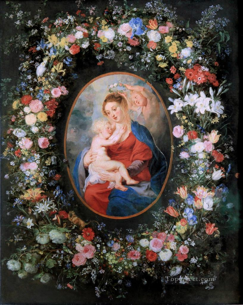 The Virgin and Child in a Garland of Flower Baroque Peter Paul Rubens Oil Paintings