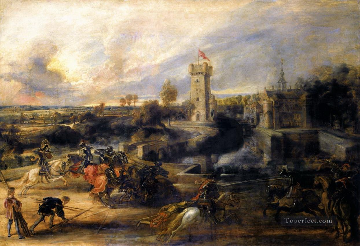 tournament in front of castle steen 1637 Peter Paul Rubens Oil Paintings