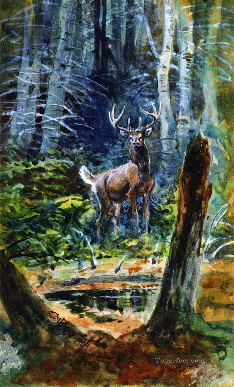 deer in the dell 1909 Charles Marion Russell Oil Paintings