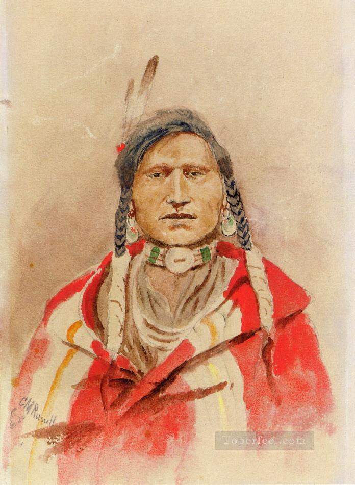 portrait of an indian Charles Marion Russell Oil Paintings
