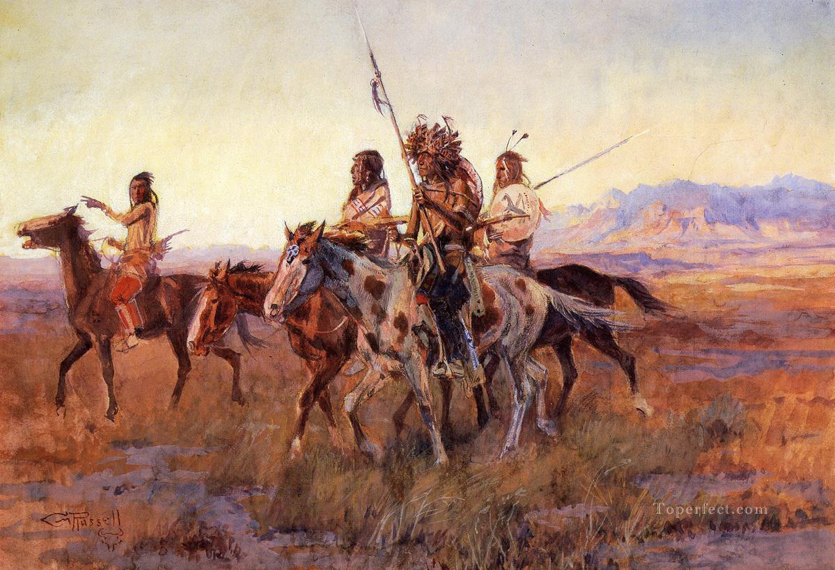 Four Mounted Indians Charles Marion Russell circa 1914 Indians western American Charles Marion Russell Oil Paintings