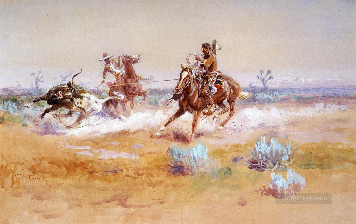 Mexico western American Charles Marion Russell Painting in