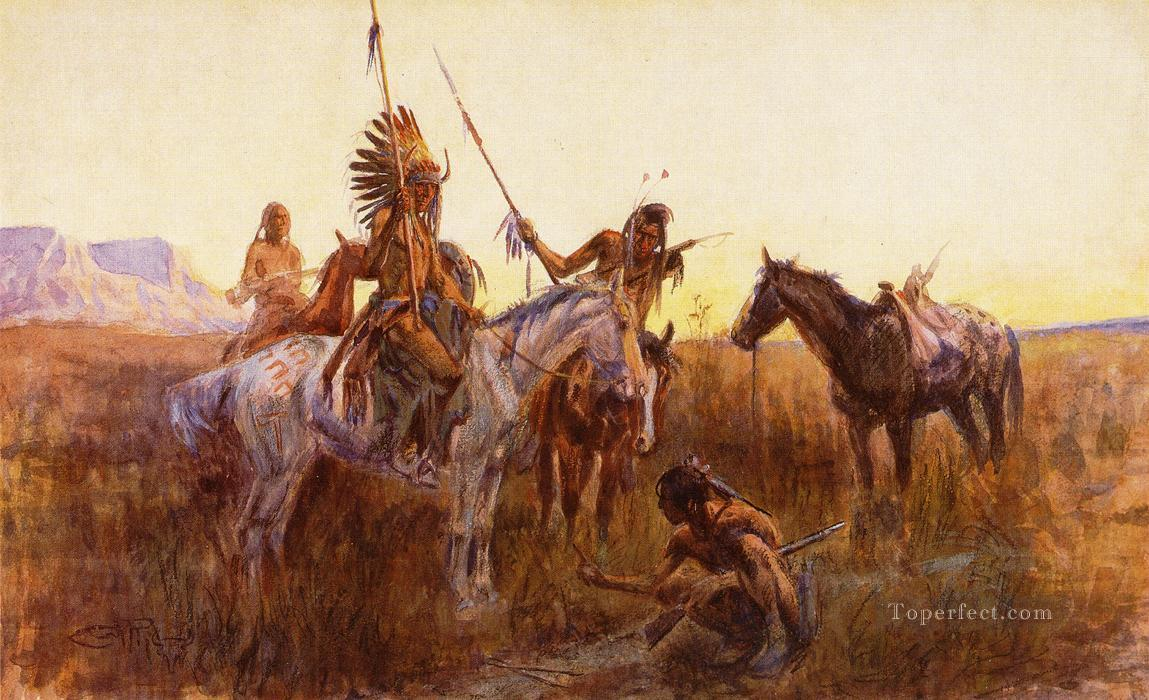 The Lost Trail Indians western American Charles Marion Russell Oil Paintings