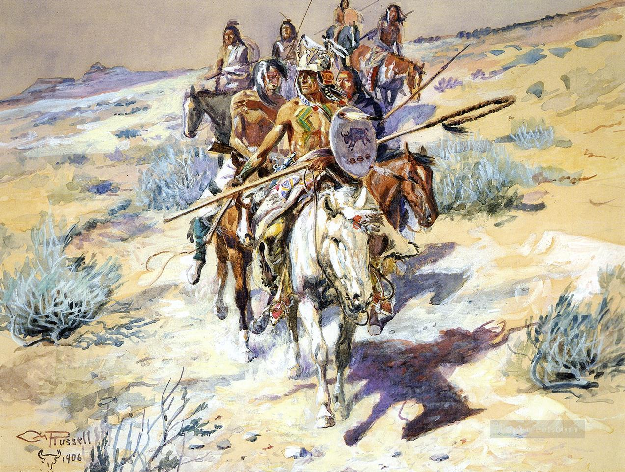 Return of the Warriors Indians western American Charles Marion Russell Oil Paintings