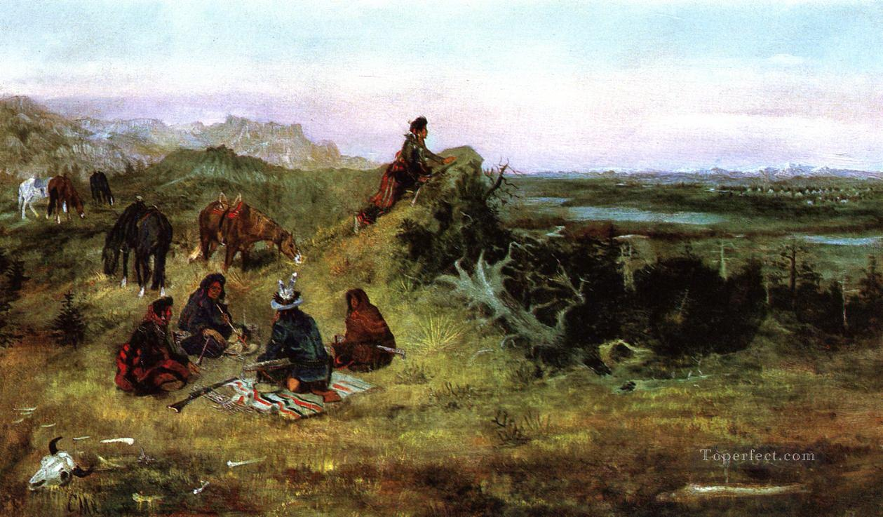 the piegans preparing to steal horses from the crows 1888 Charles Marion Russell Oil Paintings