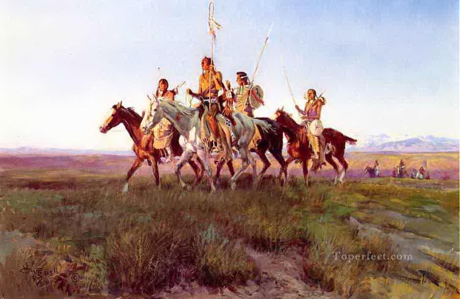 return of the war party 1914 Charles Marion Russell Oil Paintings