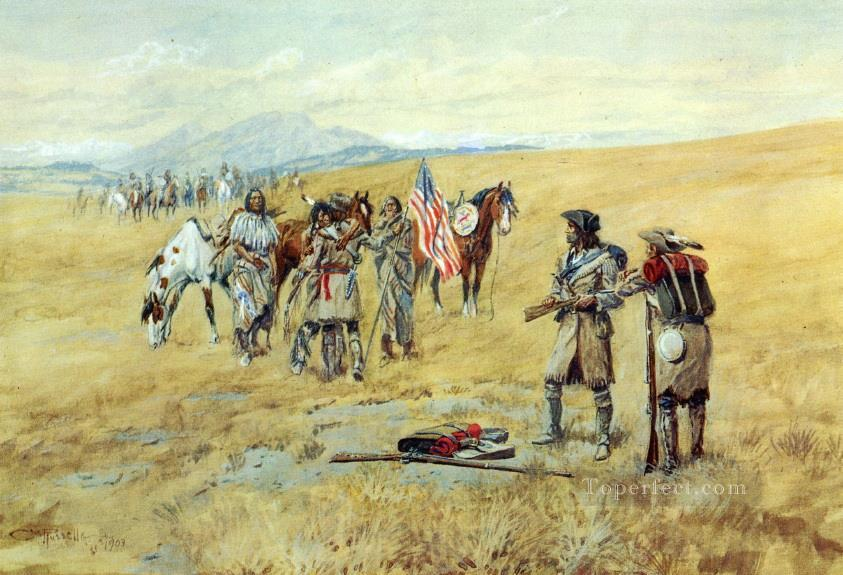 captain lewis meeting the shoshones 1903 Charles Marion Russell Oil Paintings