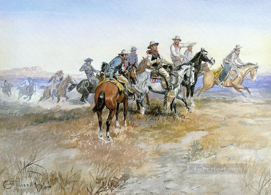 start of roundup 1898 Charles Marion Russell Oil Paintings