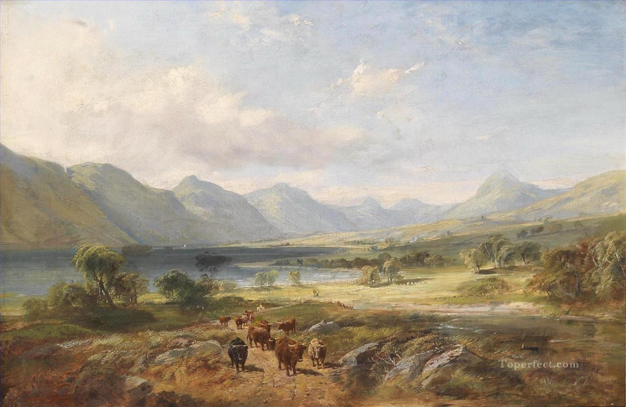 Highland cattle in an open lakeland landscape Samuel Bough landscape Oil Paintings