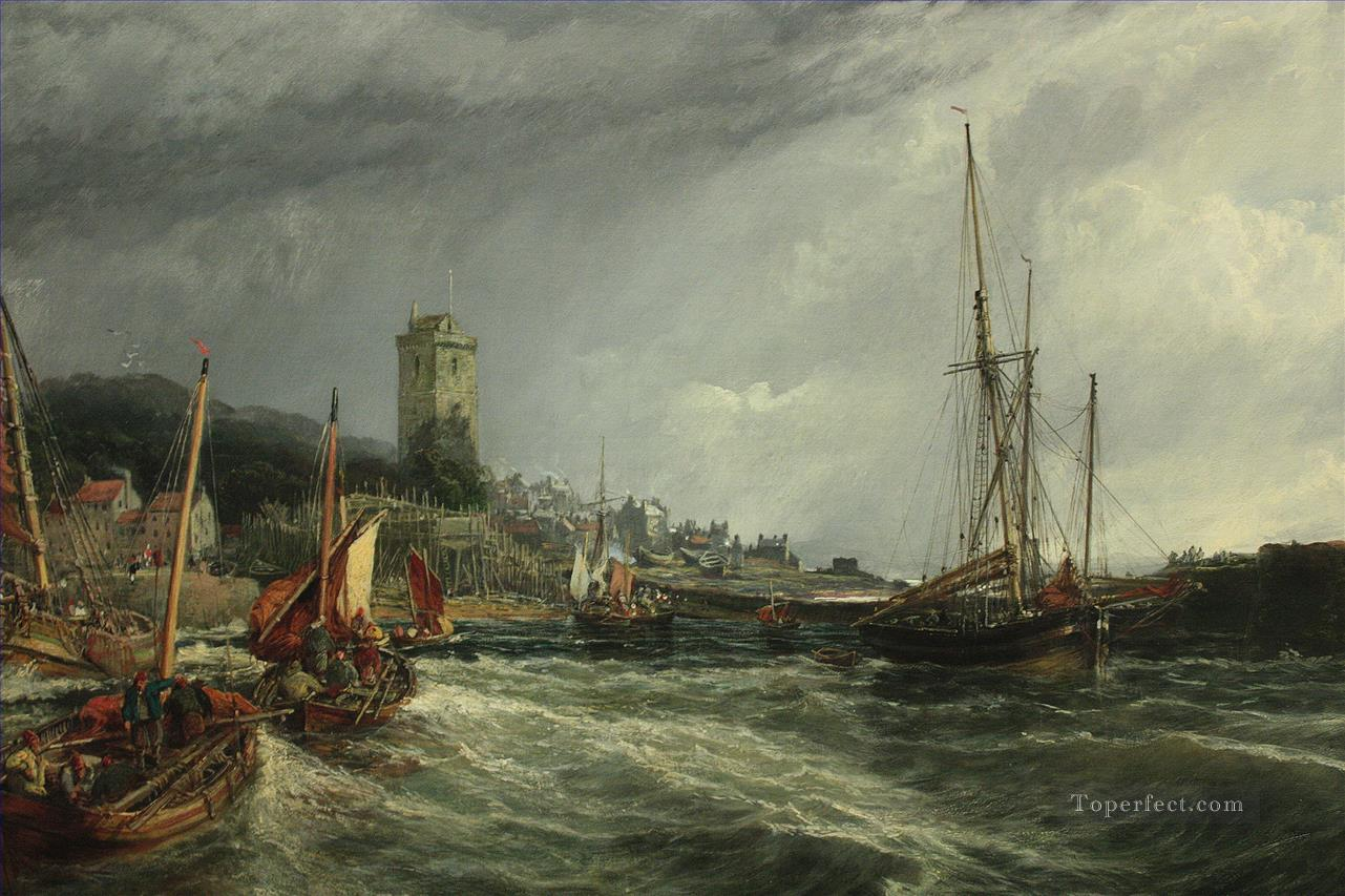 Fishing Boats Running Into Port Dysart Harbour Samuel Bough seaport scenes Oil Paintings