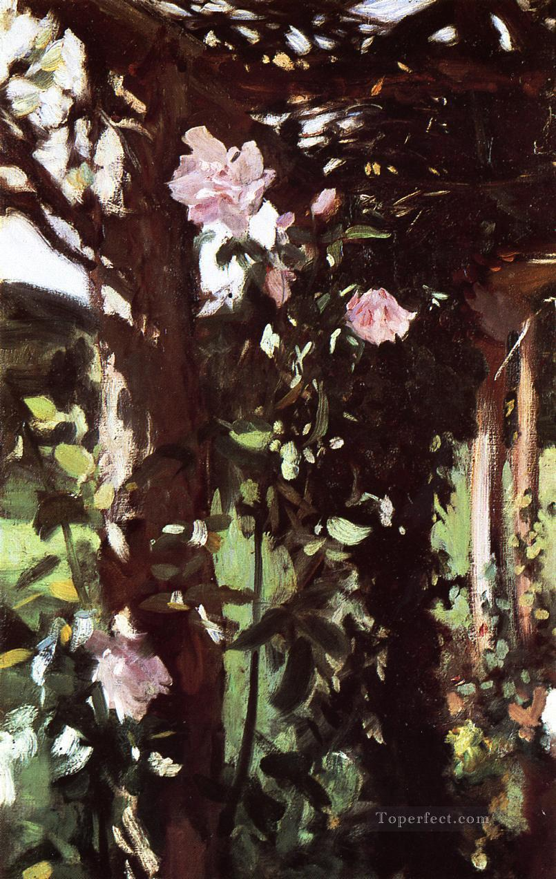A Rose Trellis Roses at Oxfordshire John Singer Sargent Oil Paintings
