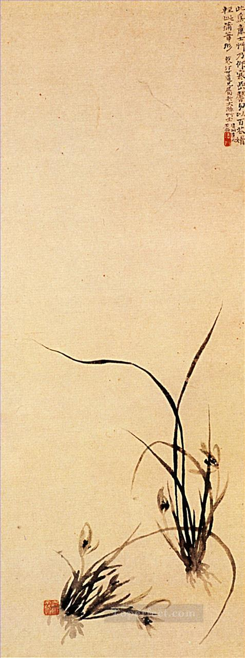 Shitao shoots of orchids 1707 old China ink Oil Paintings