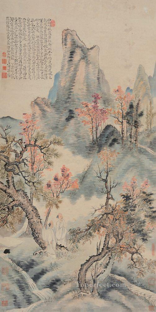 Shitao red leaves in autumn old China ink Oil Paintings