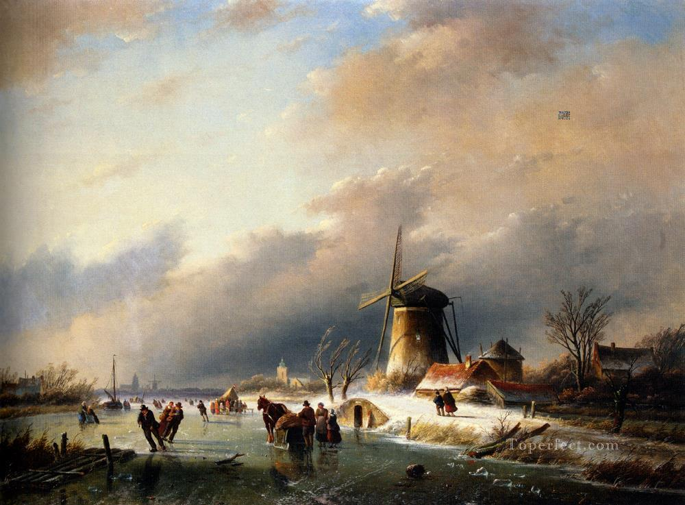 Figures Skating on a Frozen River landscape Jan Jacob Coenraad Spohler Oil Paintings