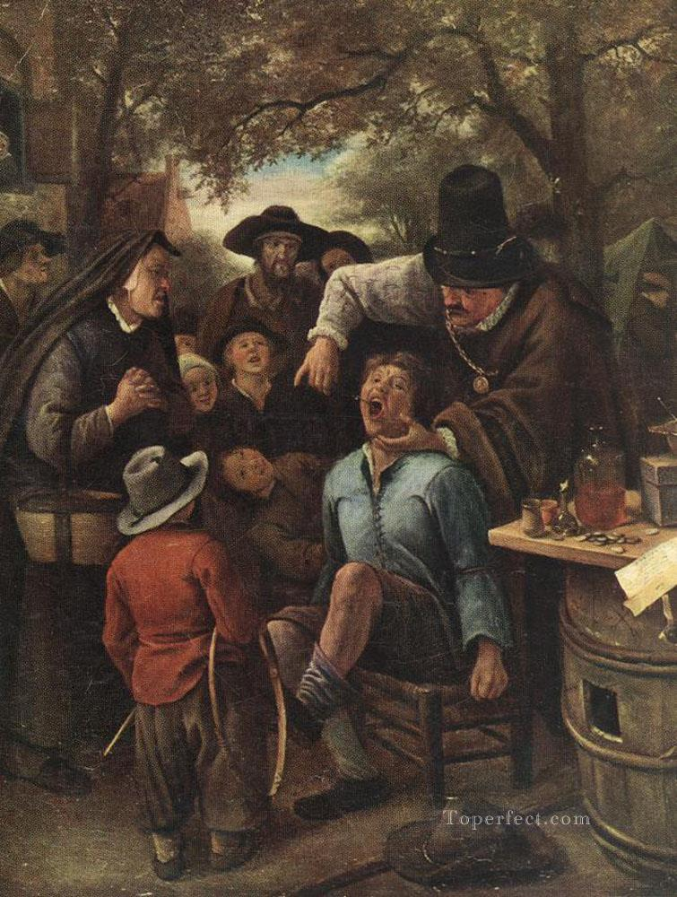 The Quackdoctor Dutch genre painter Jan Steen Painting in Oil for Sale