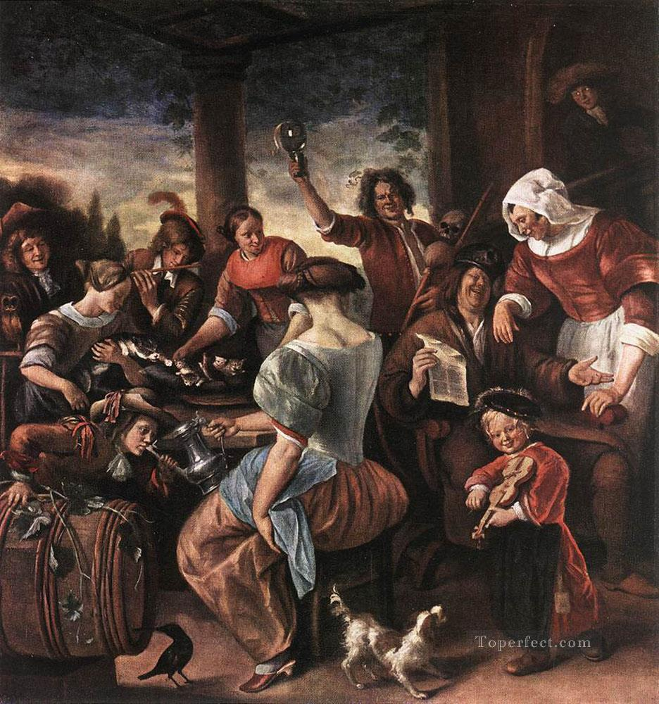 A Merry Party Dutch genre painter Jan Steen Painting in Oil