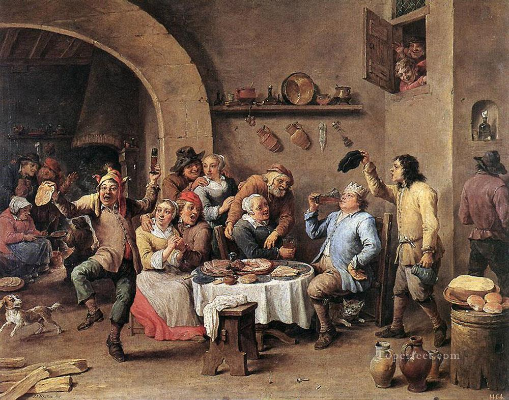 Twelfth Night The King Drinks David Teniers the Younger Oil Paintings