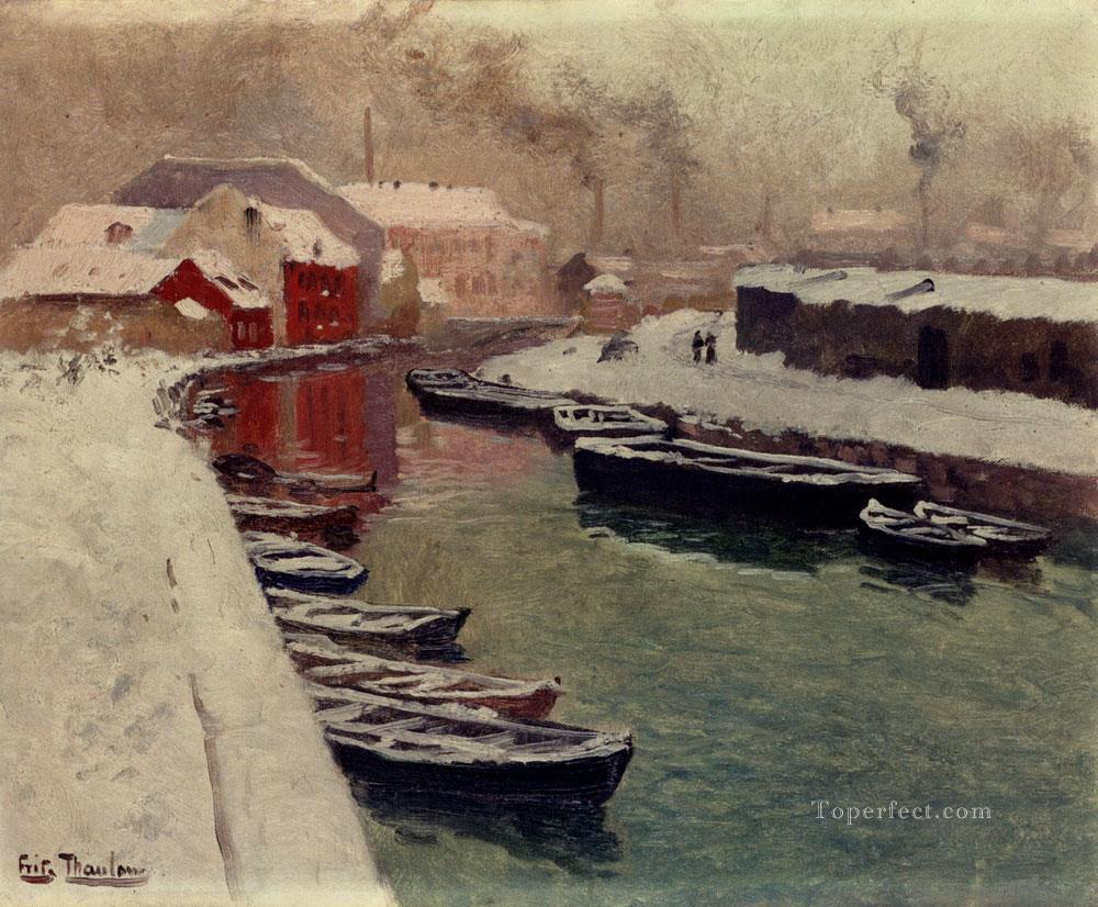 A Snowy Harbo Norwegian Frits Thaulow Oil Paintings