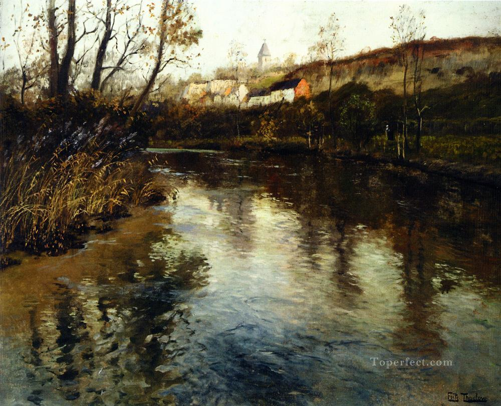 Elvelandskap River Landscape Norwegian Frits Thaulow Oil Paintings
