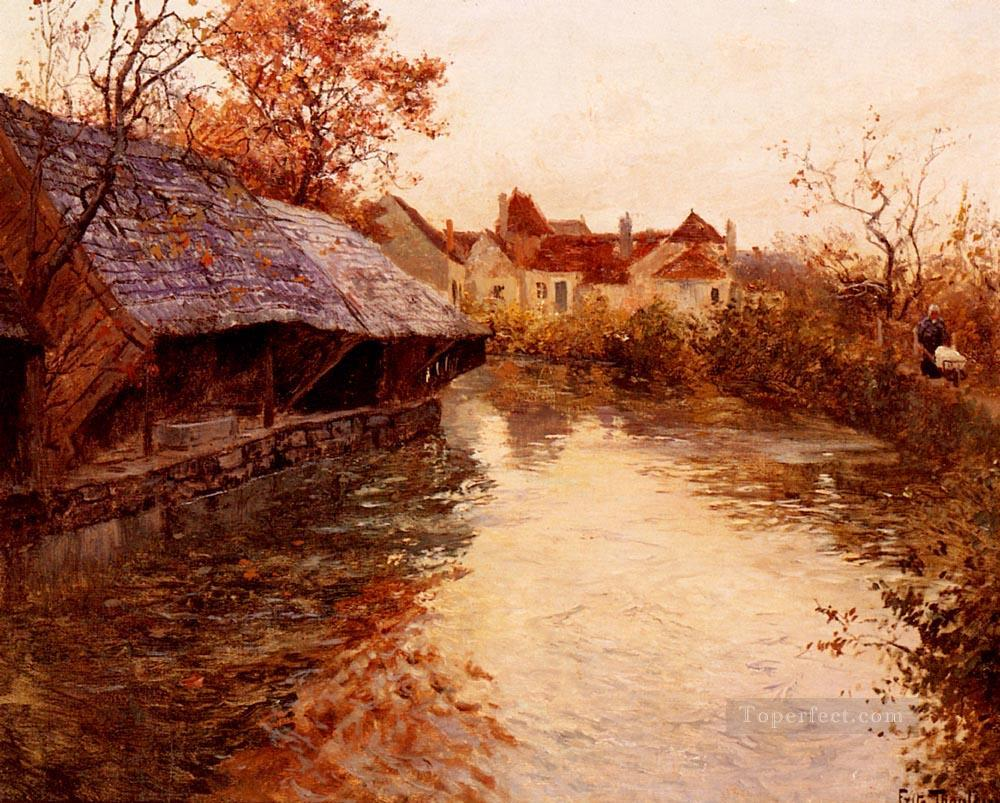 A Morning River Scene Norwegian Frits Thaulow Oil Paintings
