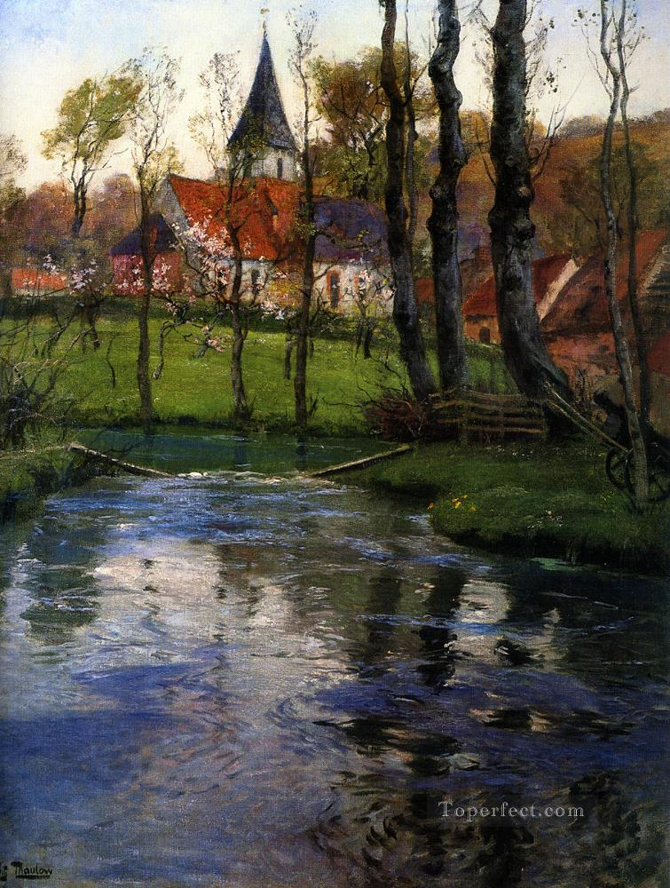 The Old Church by the River Norwegian Frits Thaulow Oil Paintings