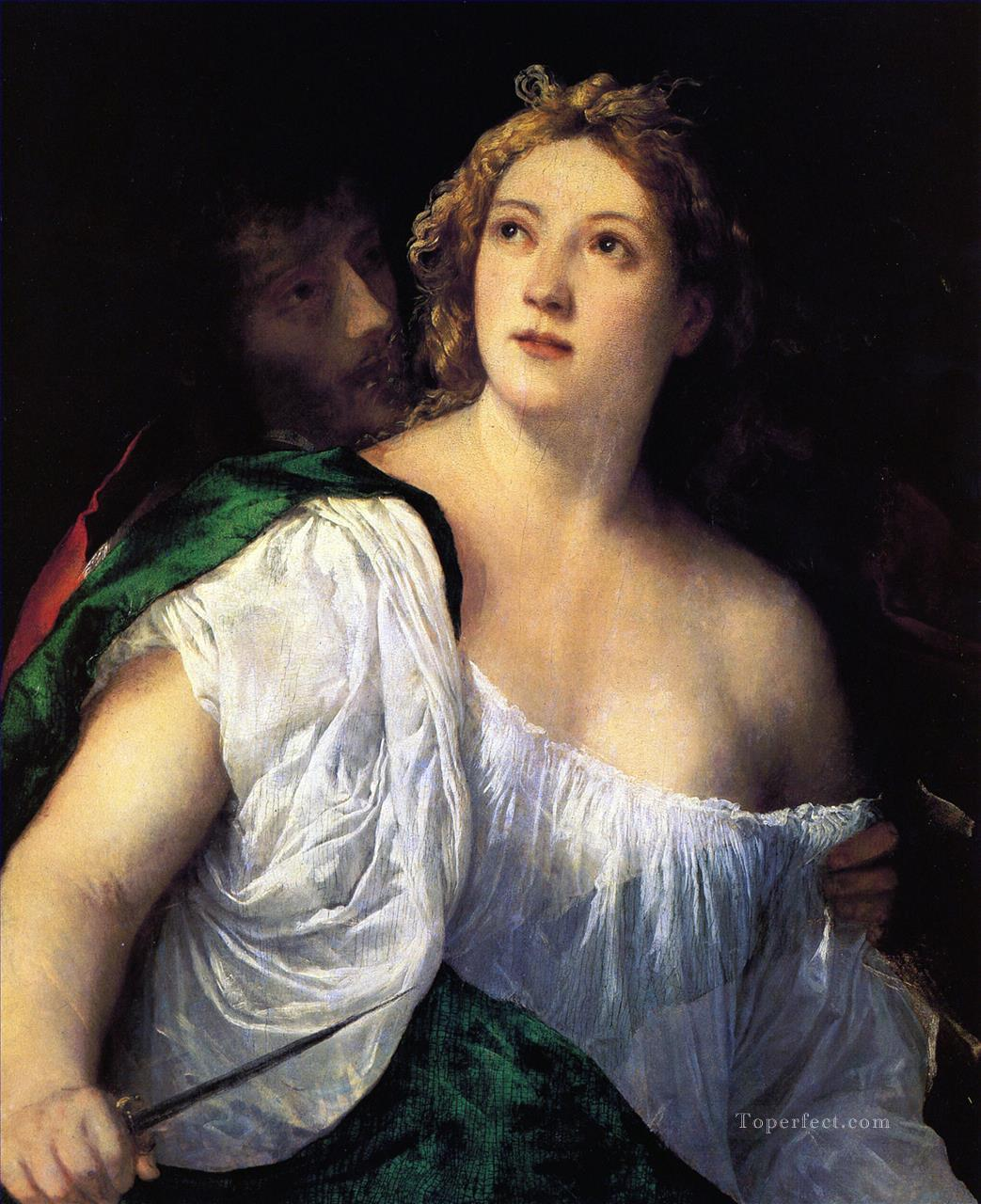 Suicide of Lucretia 1515 Tiziano Titian Oil Paintings