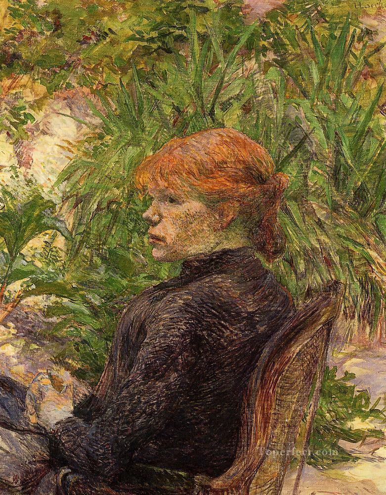 red haired woman seated in the garden of m forest 1889 Toulouse Lautrec Henri de Oil Paintings