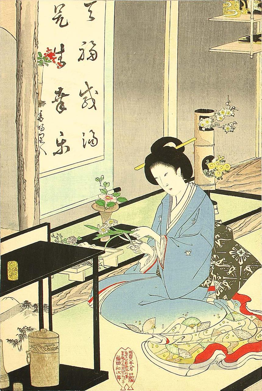 flower arranging and tea ceremony 1895 Toyohara Chikanobu bijin okubi e Oil Paintings
