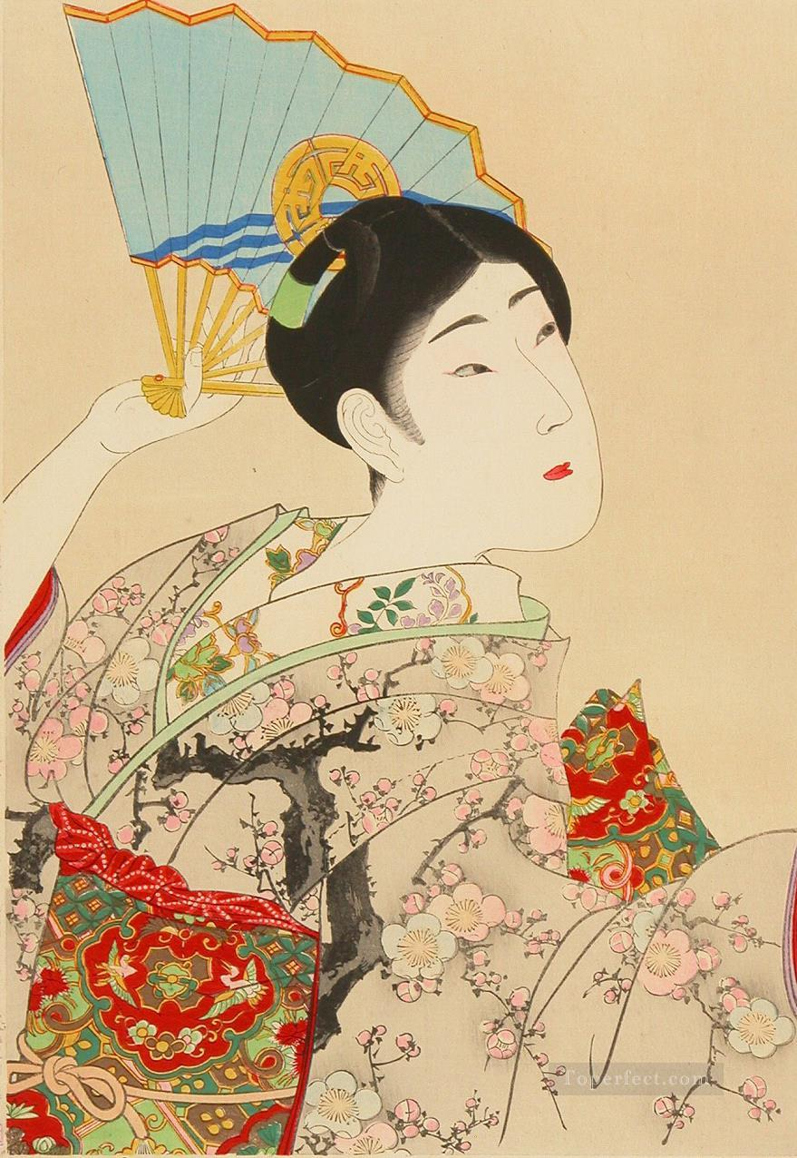 Very Beautiful Women Shin Bijin a Japanese woman holding a fan Toyohara Chikanobu Oil Paintings