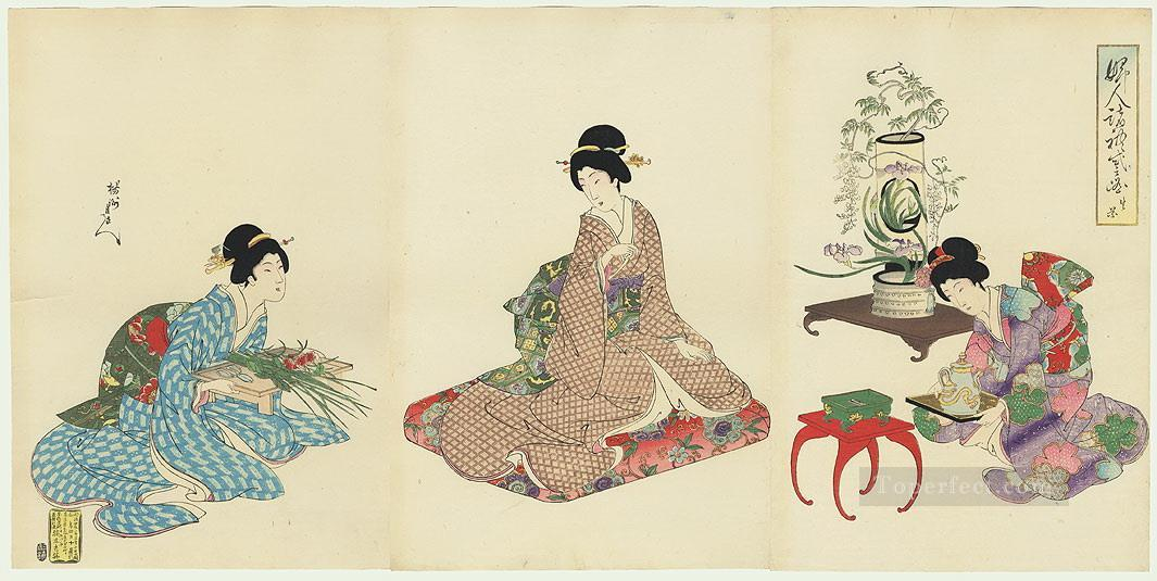 A group of women arranging flowers Toyohara Chikanobu Oil Paintings