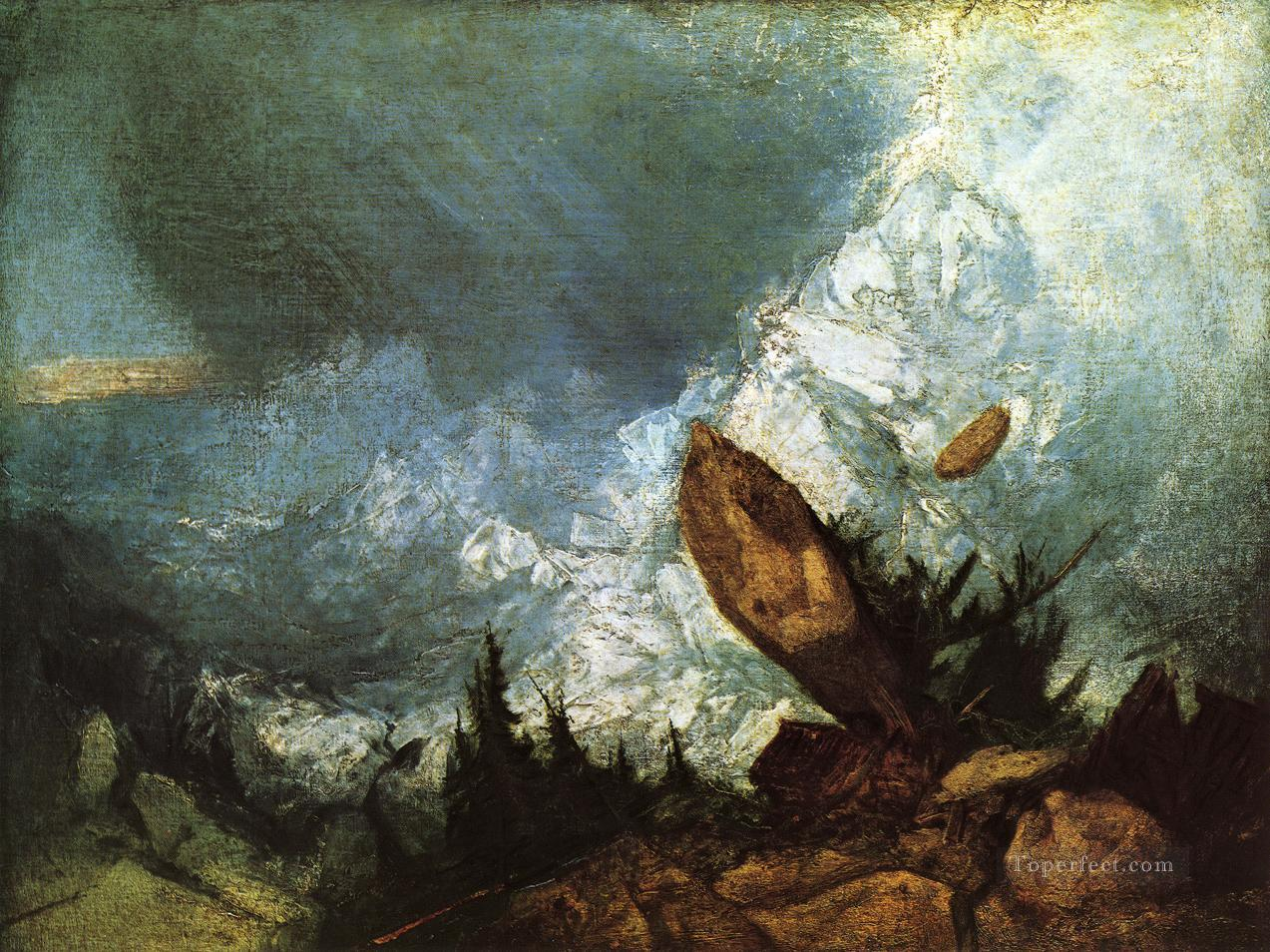 The Fall of an Avalanche in the Grisons Romantic Turner Oil Paintings